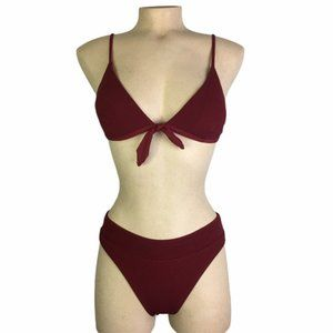 RIP CURL Dark Red/Burgundy Ribbed Triangle Bikini